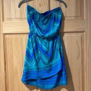 Strapless asymmetric summer dress